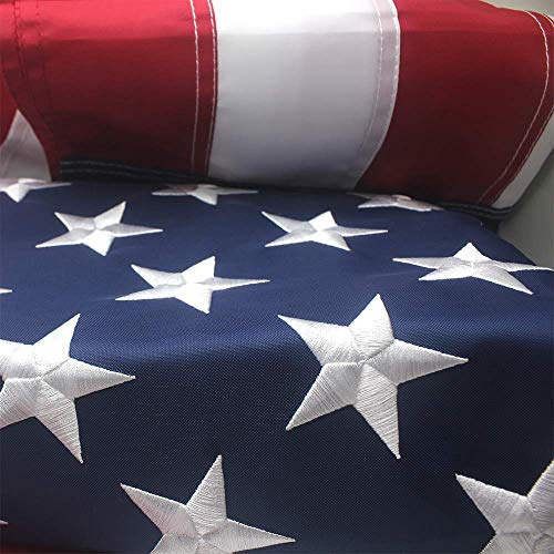 American Flag 3x5 X Reinforcement and Four Rows Hemming Embroider Stars and Sewn Stripes and Brass Grommets Indoor/Outdoor
