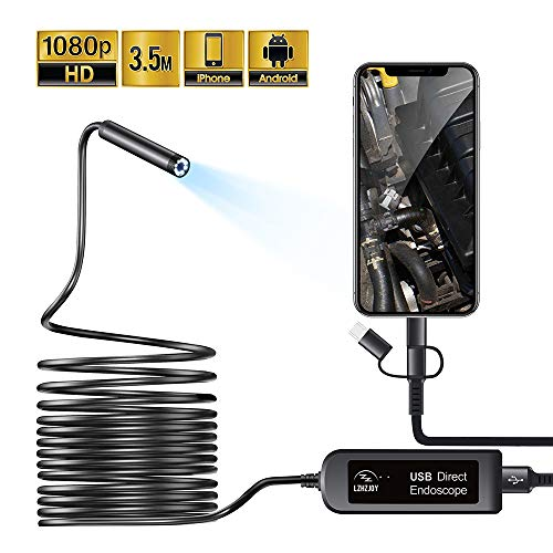 LZHZJOY USB Endoscope for Android and iOS Smart Phones/Tablets Borescope Inspection Camera,Semi-Rigid Snake Camera 2 Million HD IP67 Waterproof (11.5FT)