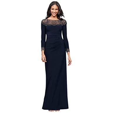 bce382d4 Beaded Jersey Long Sleeve Sheath Mother of Bride/Groom Dress Style 1576X at  Amazon Women's Clothing store: