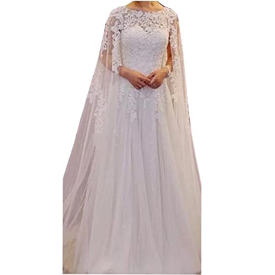 Chady Vintage Lace Wedding Dresses with Cape Scoop Neck Beach ...