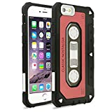 iPhone 6 Plus/6s Plus Case, Mybat Cassette Dual Layer [Shock Absorbing] Protection Hybrid PC/TPU Rubber Case Cover For Apple iPhone 6 Plus/6s Plus, Red/Black