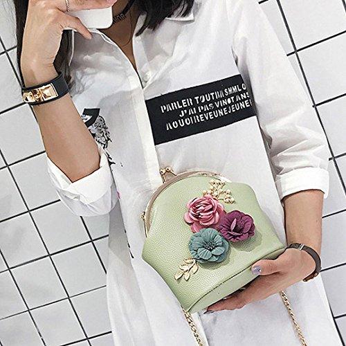 Bolso Mujer Bolso Hombro de de Logobeing Con Verde Estéreo Mano Flores Bolso Hombro de El Bolso Correa Pequeño Para FydyzP