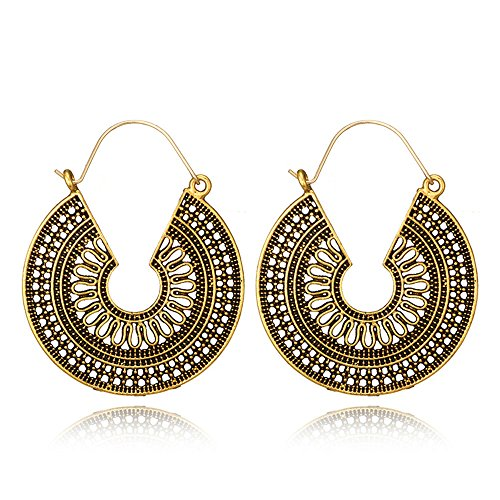 Antique Hollow Geometric Drop Dangle Earring for Women Tribal Gold Silver Pendant Hook Earrings (5673gold)