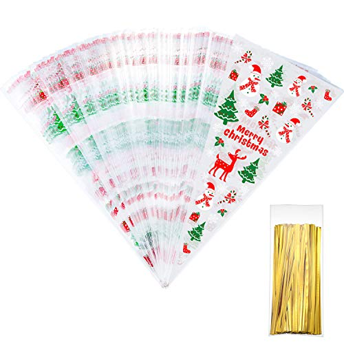 Tatuo 100 Counts Christmas Patterned Cone Cellophane Bags Treat Candy Bags with 100 Pieces Gold Twist Ties for Christmas Party Favor (Color ()