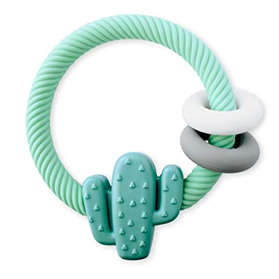 Itzy Ritzy Silicone Teether with Rattle; Features Rattle Sound, Two Silicone Rings and Raised Texture to Soothe Gums; Ages 3 Months and Up; Cactus : Baby