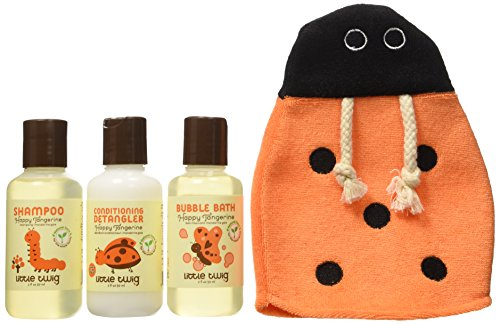 Little Twig All Natural, Hypoallergenic Baby Travel Basics 4 Piece Gift Set with Ladybug Bath Mitt, Happy Tangerine Scent, 2 Ounce Bottles