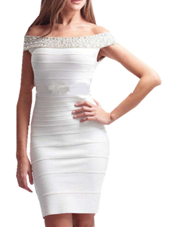 Ke Women's White Slash Neck with Beading Mini Bandage Dress