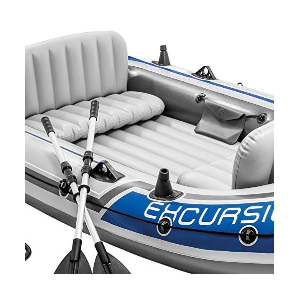 51EE2I4CqOL Intex Excursion 4 Set Schlauchboot - 315 x 165 x 43 cm - 3-teilig - Grau / Blau