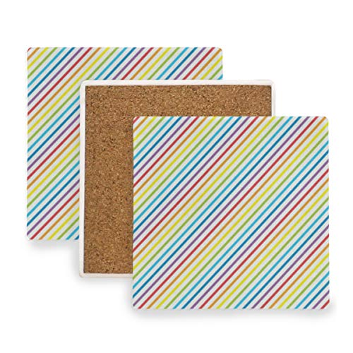 Rainbow Color Stripes Coasters, Prevent Furniture from Dirty and Scratched, Square Wood Coasters Set Suitable for Kinds of Mugs and Cups, Living Room Decorations Gift Set of 2