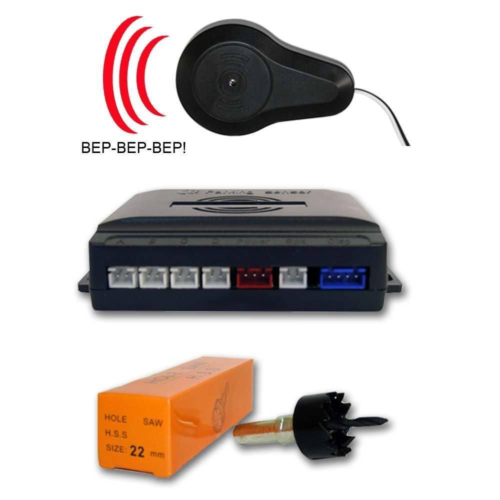 AUTOOUTLET- Sensor aparcamiento 4 detectores ultrasonidos Rojo y avisador acústico: Amazon.es: Coche y moto