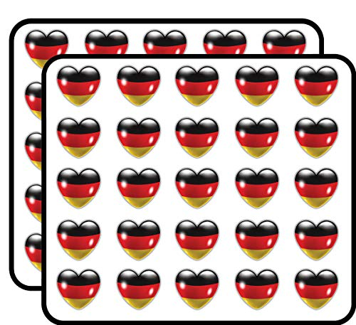 Germany Flag Glossy Heart Art Decor Sticker for Scrapbooking, Calendars, Arts, Kids DIY Crafts, Album, Bullet Journals 50 Pack ()