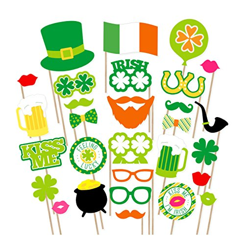 [USA-SALES] St Patrick's Photo Booth Props , Attached, No DIY Required, Party Decorations Photo Booth Props Irish Day Mustaches by USA-SALES -