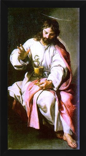 "Alonso Cano St. John the Evangelist with the Poisoned Cup - 14.5"" x 28.5"" Framed Premium Canvas Print"