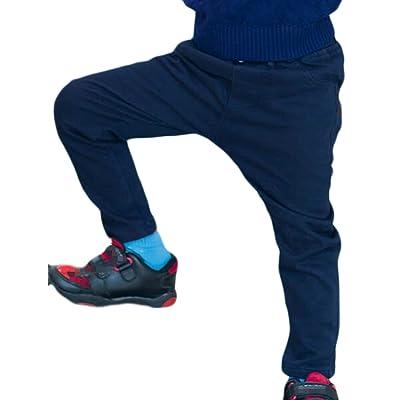 Fulok Boys' Classic-Fit Flat Front Elastic Straight-Leg Solid Pants
