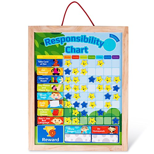 Responsibility Chart Wooden Reward Chore Chart Set for Kids 48 PCs