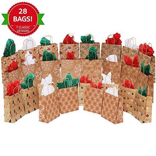 MOMONI 28 Piece Medium Premium Christmas Gift Bags- Classic Variety Kraft Gift Bags Bulk Christmas Bags- Good for Xmas Party Favors, Goody Gift Bags, Holiday Treat Box and Presents