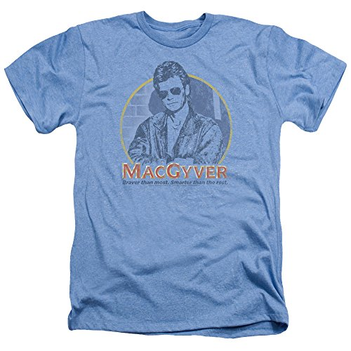 Macgyver Title Mens Heather Shirt Light Blue Lg