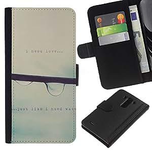 All Phone Most Case / Oferta Especial Cáscara Funda de cuero Monedero Cubierta de proteccion Caso / Wallet Case for LG G3 // Raindrop Falling Mist Grey Rain Spring Text