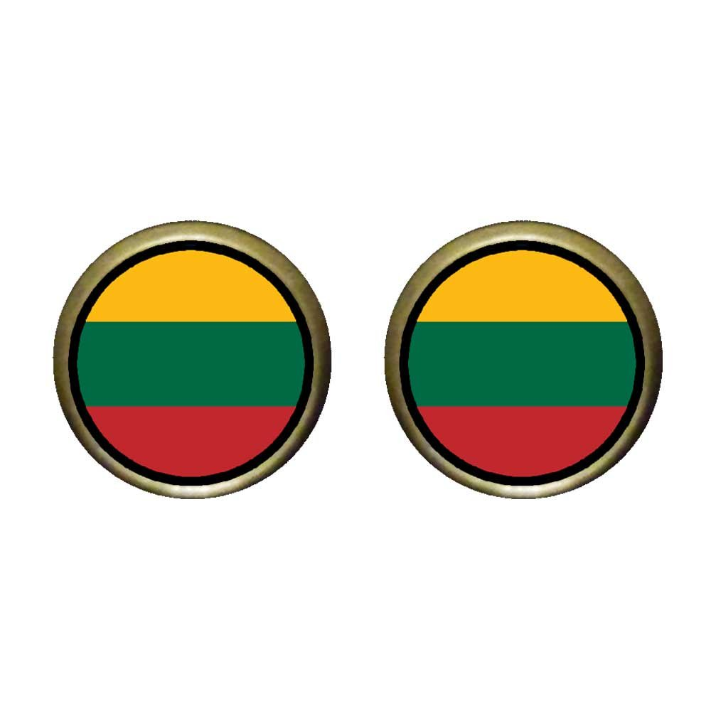 GiftJewelryShop Bronze Retro Style Lithuania flag Photo Stud Earrings 12mm Diameter