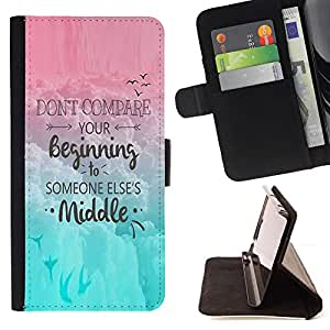 For Samsung Galaxy Note 4 IV Comparison Yourself Others Motivation Quote Style PU Leather Case Wallet Flip Stand Flap Closure Cover