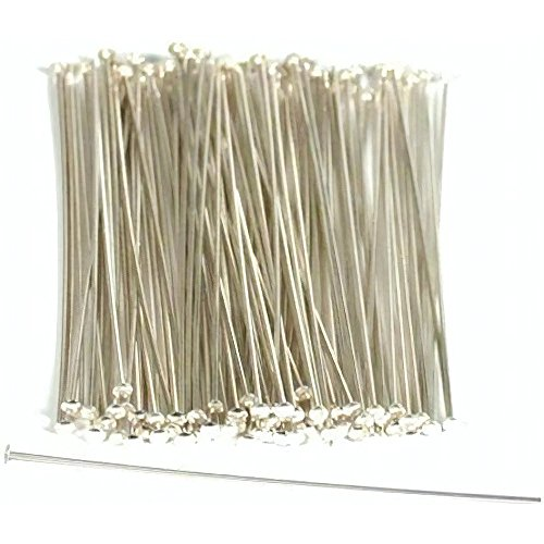 "100 Sterling Silver Head Pins Hat Stick Pin Part Findings 2"" 22 Gauge from FindingKing"