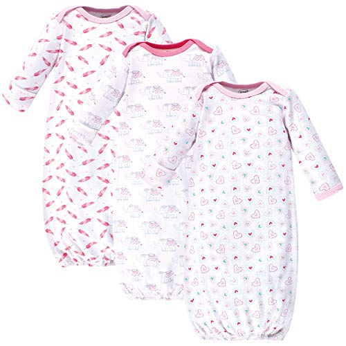 Luvable Friends Unisex Baby Cotton Gowns, Girl Elephant/Hearts 3-Pack, 0-6 Months