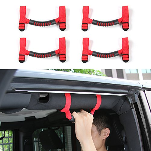 4 PCS Grab Handles Grip Handle Red Holder Roll Bar Grab Handles For Jeep Wrangler JK Unlimited Rubicon 1987-2017 (Red)