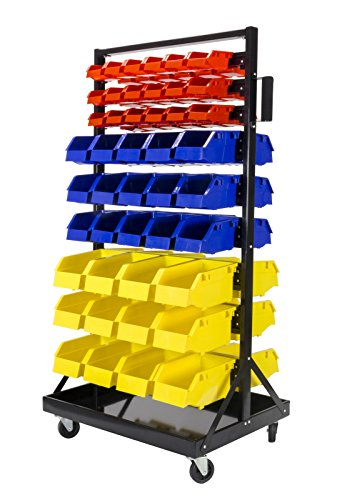90 Bin Organizer with Tray and Casters. 36 small red bins, 30 medium blue bins, and 24 large yellow bins