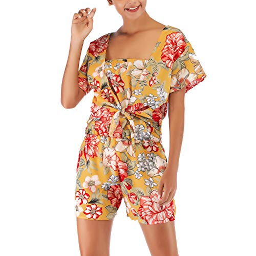 Women Off The Shoulder Printed Party Clubwear Jumpsuit Coat Two-Piece Outfit&ANJUNIE(Yellow1,M)