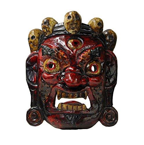 Golden Lotus Hand Craved Vintage Tibetan Traditional Ceremony Solid Wood Mask an332