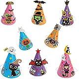8pcs Halloween Party Hats DIY Cartoon Paper Cap Ornament Hat for Children Kids (Skull Bat Pumpkin Spider Witches)