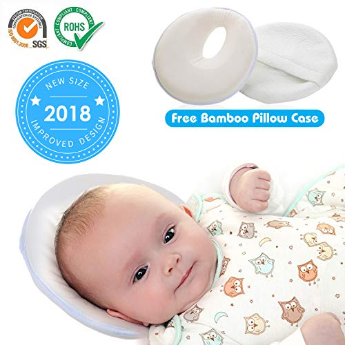 Newborn Baby Pillow for Flat Head Syndrome Prevention, 8.6 inch Memory Foam Cushion Head Shaping Pillow Neck Support with Bamboo Pillowcase for Infant up to 4 Months