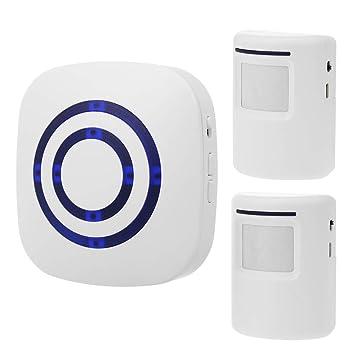 Festnight Alarma con Sensor Movimiento Inteligente Timbre Inalámbrico Enchufe Puerta Timbre Seguridad para el Hogar Detector Infrarrojos Kits de Alerta con ...
