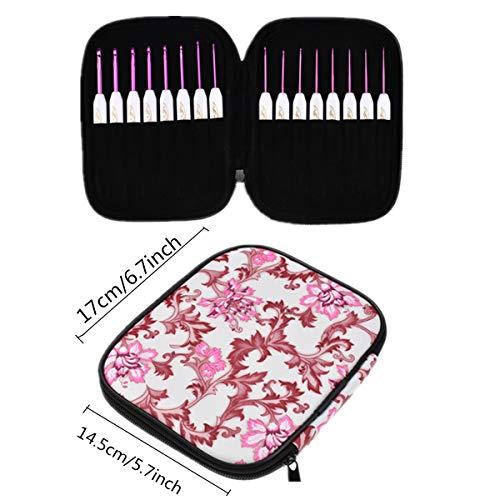 KOKNIT Ergonomic Crochet Hooks Set 16pcs Plastic Handle with Aluminum Knitting Needles,1MM-6MM(Pink&White) ()