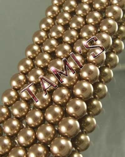 100 SWAROVSKI Crystal Faux PEARLS BRONZE 4mm