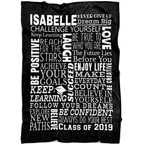 """Custom Graduation Blanket 2019 Gift For Her Him Name And Date Personalized Fleece Blanket Class of 2019 High School College Son Daughter (Black, 30""""x40"""")"""