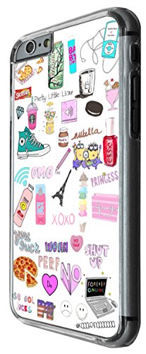 1064 - Cool fun drawing shut up collage princess pizza sucks quotes words Design For iphone 6 Plus / iphone 6 Plus S 5.5'' Fashion Trend CASE Back COVER Plastic&Thin Metal -Clear