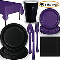 Disposable Party Supplies, Serves 40 - Black and Purple - Large and Small Paper Plates, 12 oz Plastic Cups, heavyweight Cutlery, Napkins, and Tablecloths. Full Two-Tone Tableware Set