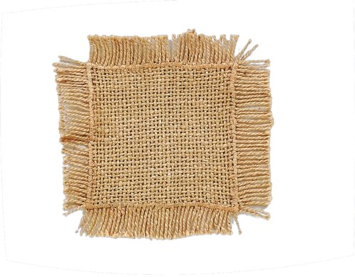 Burlap Natural Cotton Fringed Coasters (Set of 4) Victorian Heart Co. Inc. COMINHKR026980