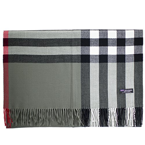 2 PLY 100% Cashmere Scarf BLANKET Collection Made in Scotland Wool Solid Plaid (Grey OS Check)