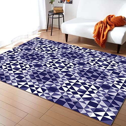 KAROLA Area Rug Triangles Purple Mosaic Abstract Geometric Pattern Area Rugs for Living Room Bedroom Playing Room(5' x 8', Rectangle)