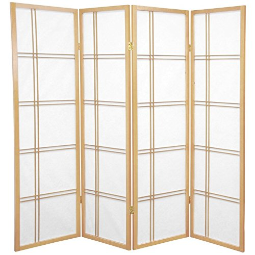 Oriental Furniture 5 ft. Tall Double Cross Shoji Screen - Natural - 4 Panels