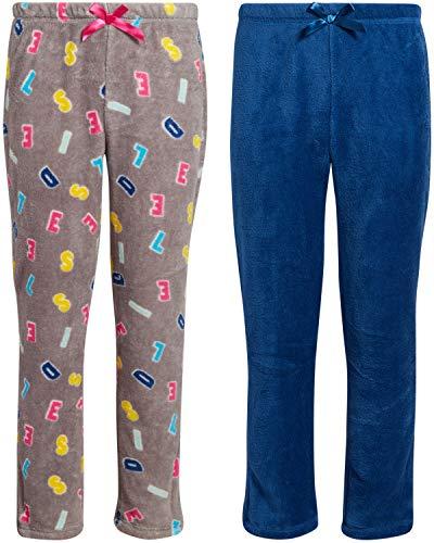 Diesel Girls' 2-Piece Plush Fleece Pajama Pants Set, Size 12, Heather Grey-Blue'