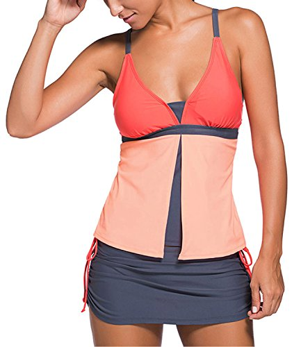 [Minetom Bikini Women Summer Fashion Harness Swimwear With Shorts Casual Beachwear Two Pieces Swimsuit A Line Tankinis Pink - Orange US] (Racer Girl Romper Costumes)