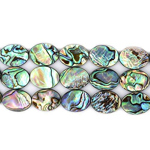 Natural 20mm Abalone Shell Flat Oval Beads Strand 16 Jewelry Making Beads