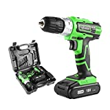 LANNERET CD18HL02 18V MAX 3/8'' Cordless Drill Driver Set with Two Lithium Batteries, 2-Speed Max Torque 248In-lbs, 13pcs Accessories Included, 1.5Ah Lithium-Ion Battery