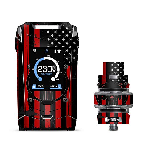 IT'S A SKIN Decal Vinyl Wrap Smok Species 230W TFV8 Baby V2 Vape Sticker Sleeve/Red American Flag Black Punish Badge