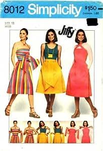 Simplicity 8012 Sewing Pattern Muti-Wrap Dress Size 12 - Bust 34