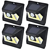 SOLAR MOTION SENSOR COB LED LIGHT By Mighty Power, Ultra Bright 350 Lumens, Perfect For Illuminating Patios, Outdoor Walkways and Pathways, Entries And Exits, Dark Alleys, RVs, Garages, Black (4 Pack)