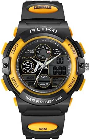 ALKSEN Kids Watch,Water resistant Digital LED Quartz Analog Sports Watch with Alarm for Girls Boys